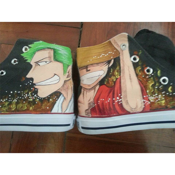 One Piece hand painted shoes Luffy and Zoro Anime Shoes for Men/
