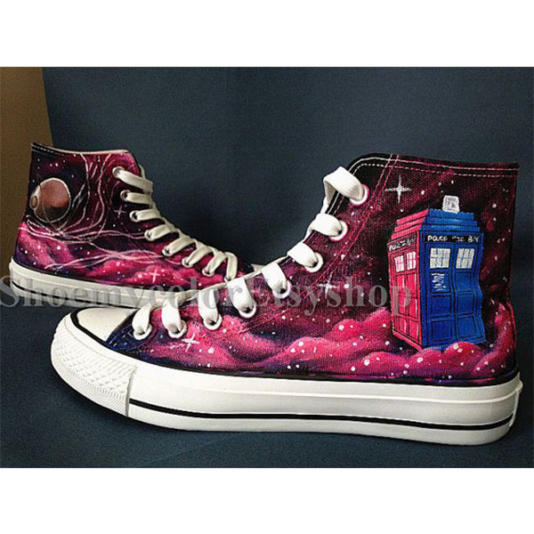 Custom Doctor Who Hand Painted Canvas Shoes