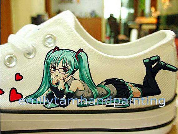Vocaloid Hatsune Miku Converse Shoes-Hand Paint on Kicks Low Top-1