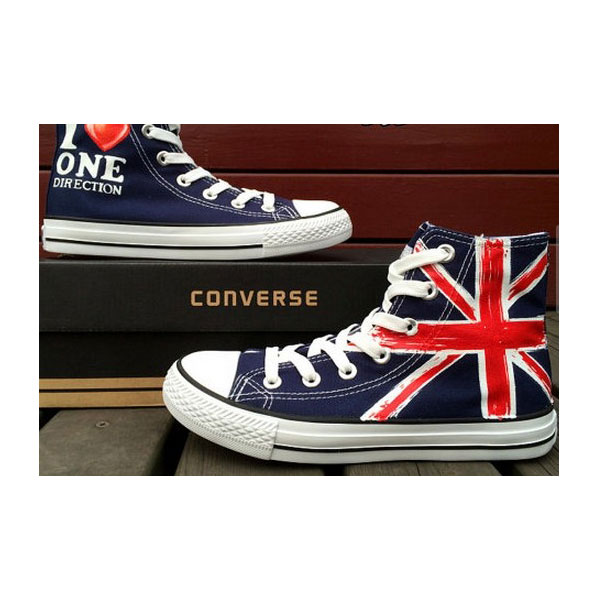 cb80f9b406 Blue Converse Shoes Hand Painted UK Flag Shoes Custom Design Uni