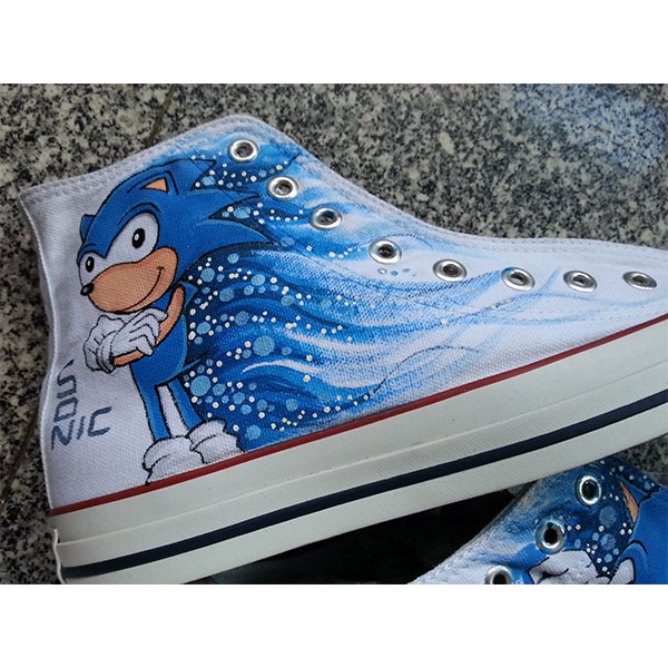 Sonic custom shoes Sonic High-top Painted Canvas Shoes-2