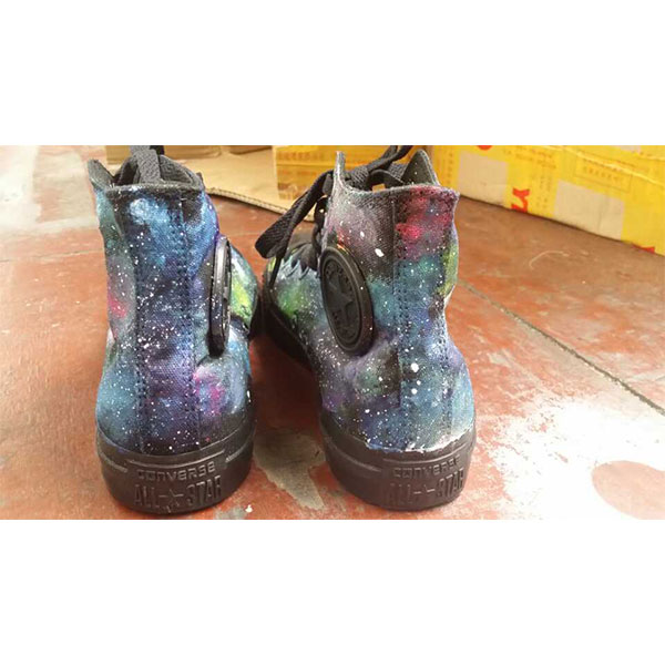 Galaxy Stylish Hand Painted Canvas Sneakers Custom High Top Fash-2