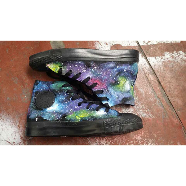 Galaxy Stylish Hand Painted Canvas Sneakers Custom High Top Fash