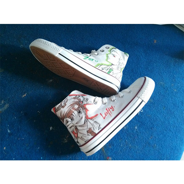 One Piece Luffy/Zoro Hand Painted High Top Canvas Shoes for Men/-1
