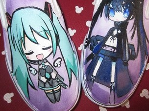 Vocaloid Anime Slip-on Hand Painted White Canvas Sneakers Custom-1