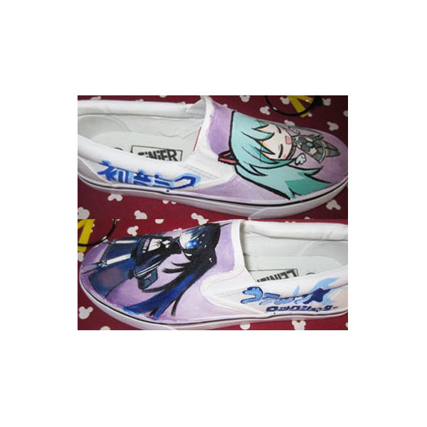 Vocaloid Anime Slip-on Hand Painted White Canvas Sneakers Custom-3