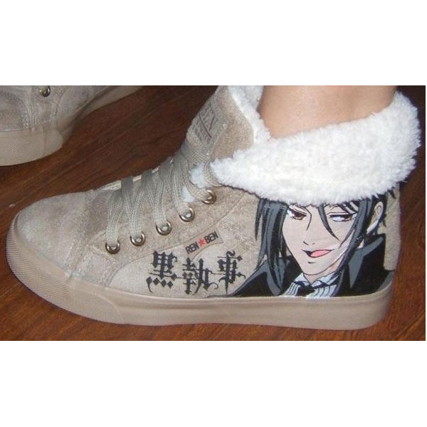 Black Butler Hand Painted High-top Canvas Sneaker Shoes Men/Wome