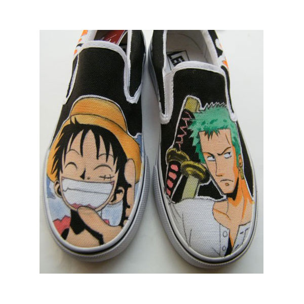 One Piece Luffy/Ace Hand Painted Slip-on Canvas Shoes for Men/Wo