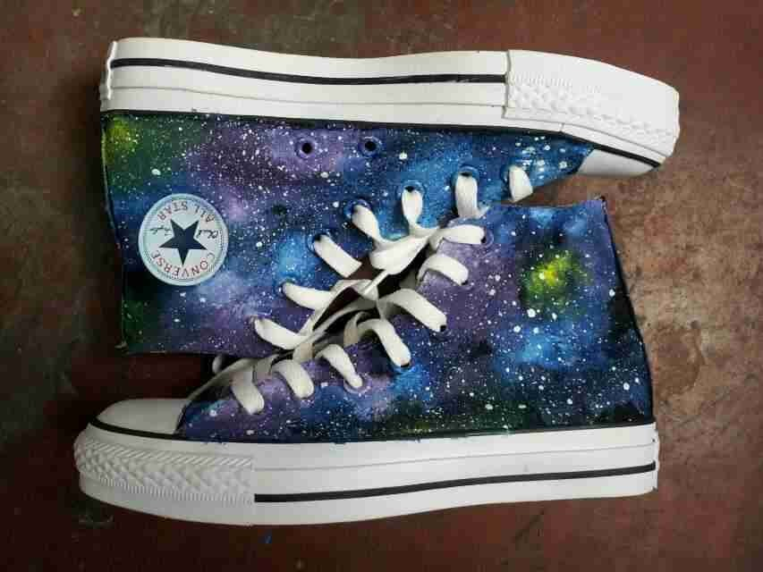 2014 New Galaxy Hand Painted High-top Canvas Sneaker Shoes-1