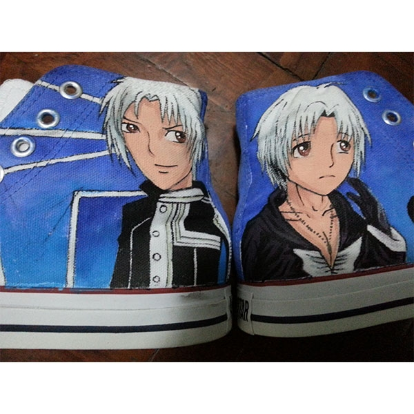 d gray man allen anime High-top Painted Canvas Shoes