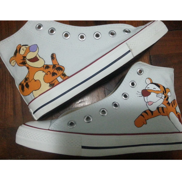 Tigger Canvas Shoes disney High-top Painted Canvas Shoes-1