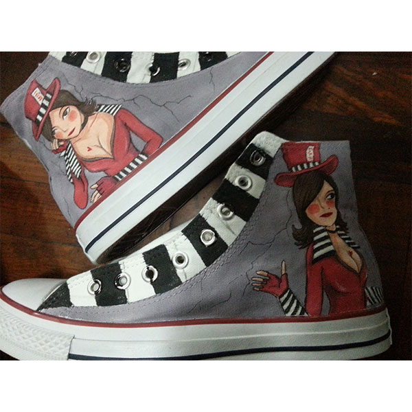 Mad Moxxi Shoes Custom Moxxi High-top Painted Canvas Shoes