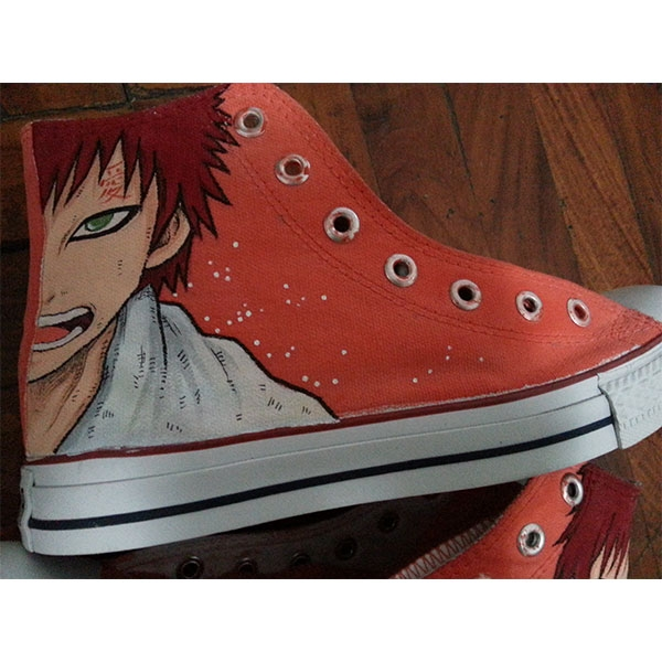naruto gaara Shoes Hand Painted red Canvas High Top Sneakers for-2