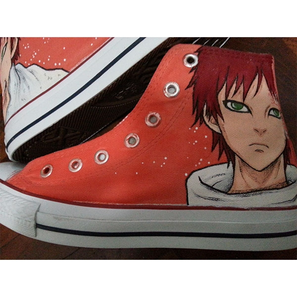 naruto gaara Shoes Hand Painted red Canvas High Top Sneakers for-3