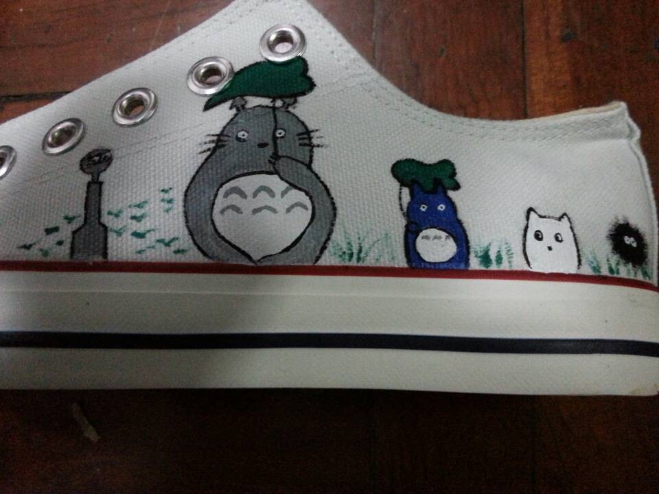 Totoro Shoes  Anime Custom Totoro Painted Anime Shoes-1