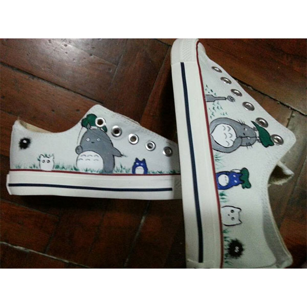 Totoro Shoes  Anime Custom Totoro Painted Anime Shoes-2