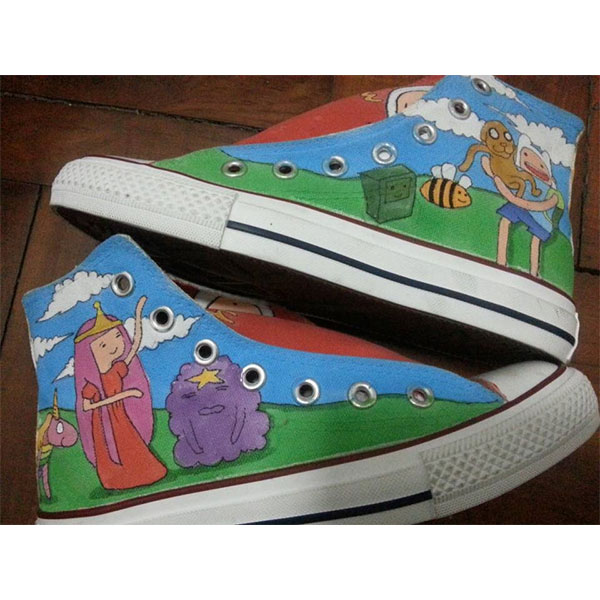 Adventure Time Shoes Anime Custom women/men High-top Painted Can