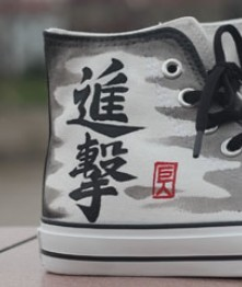 Attack on titan Custom Anime Shoes High-top Painted Canvas Shoes-1
