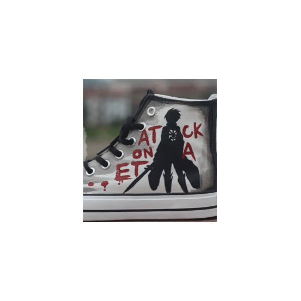 Attack on titan Custom Anime Shoes High-top Painted Canvas Shoes-2