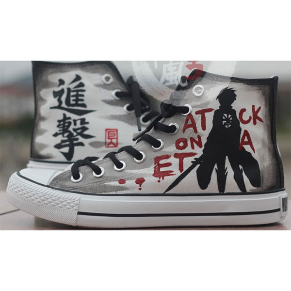 Attack on titan Custom Anime Shoes High-top Painted Canvas Shoes