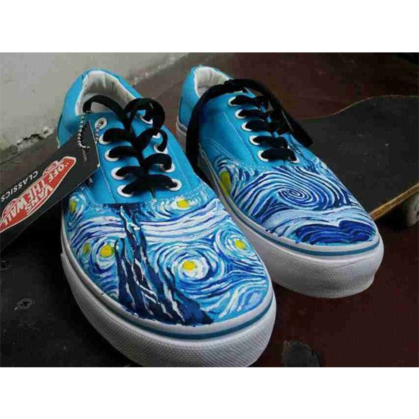 Vincent Van Gogh vans shoes Starry Night Hand Painted Vans Shoes