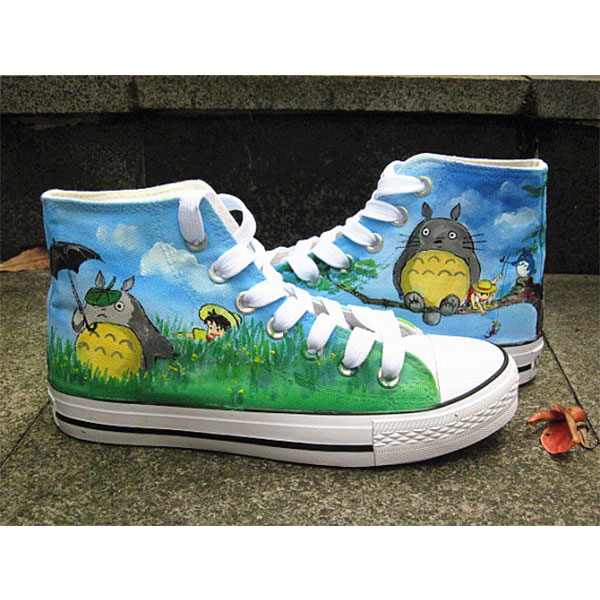 Totoro Canvas shoes hand paint shoes cardtoon cat Cat Hand-Paint-3
