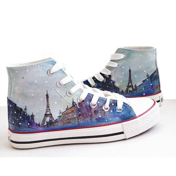 Eiffel tower shoes Sneakers Hand-Painted Shoes high top Canvas s-2
