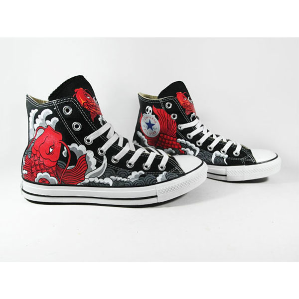 RED KOI custom shoes High-top Painted Canvas Shoes