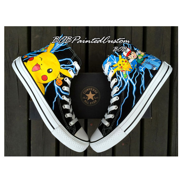 pokemon anime Anime Shoes for Boys Girls Hand Painted High Top B-2