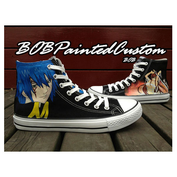 Fairy Tail Black High Top Sneaker for Men Women Hand Painted Cus
