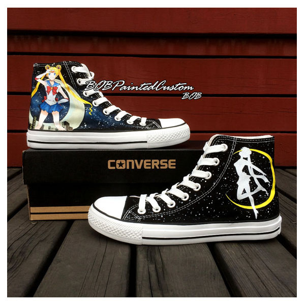 Sailor Moon Womens High Top Shoes for Lady Girl Custom Made Hand
