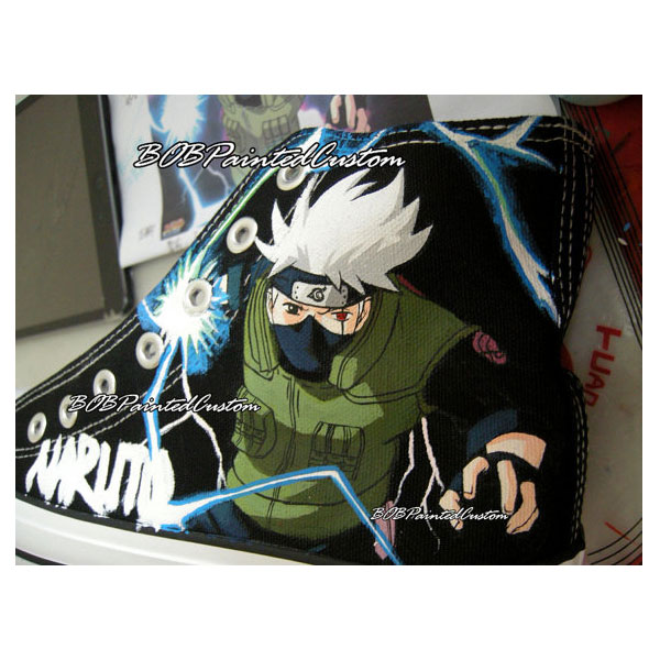 Kakashi Black Anime Sneaker Customizable Shoes for Men Women Han-3