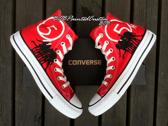 Womens Converse Red Shoes Hand Painted Custom Design High Top Ca-1