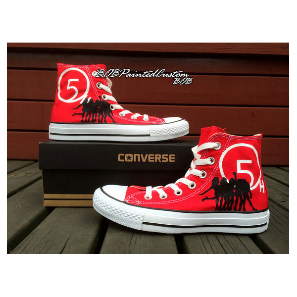 Womens Converse Red Shoes Hand Painted Custom Design High Top Ca