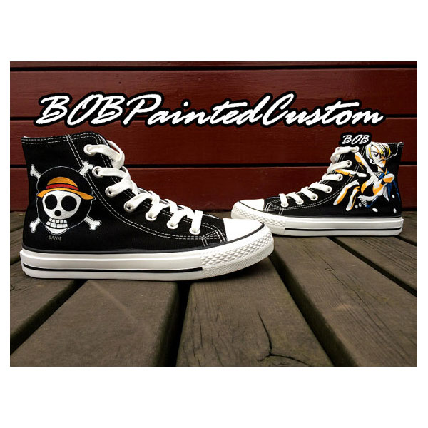 One Piece Anime Sneaker Hand Painted Custom Black Canvas Sneaker-1