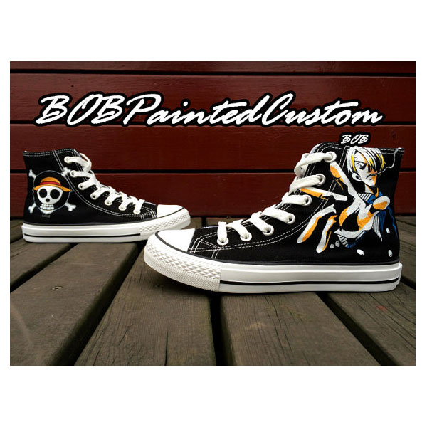 One Piece Anime Sneaker Hand Painted Custom Black Canvas Sneaker-2