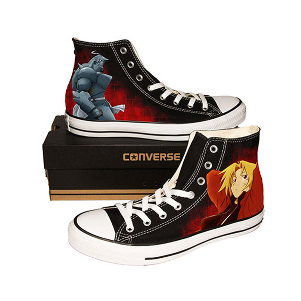 Fullmetal Alchemist Anime Black Shoes Custom Black Canvas Shoes