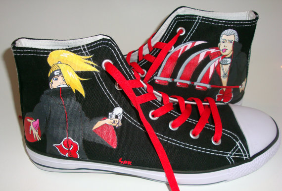 Akatsuki Naruto Shoes High-top Painted Canvas Shoes-1