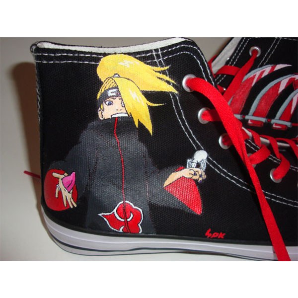 Akatsuki Naruto Shoes High-top Painted Canvas Shoes-2