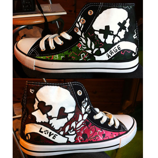 Hand Painted Green Day Rage and Love canvas shoes