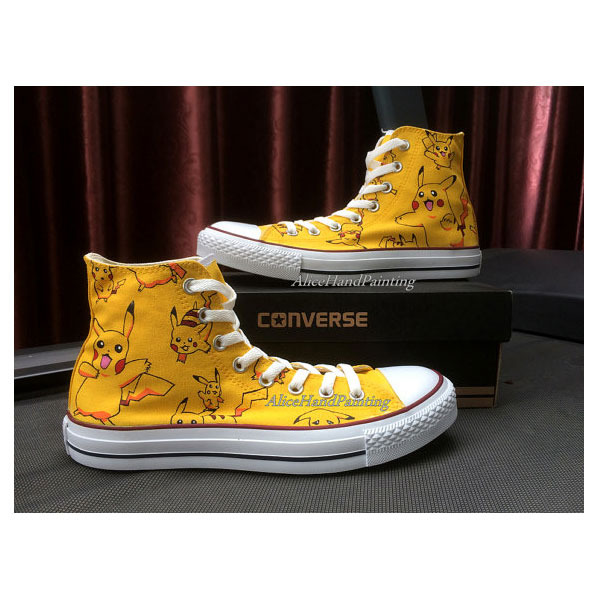 pikachu pokemon High Top Canvas Shoes for Women/Men
