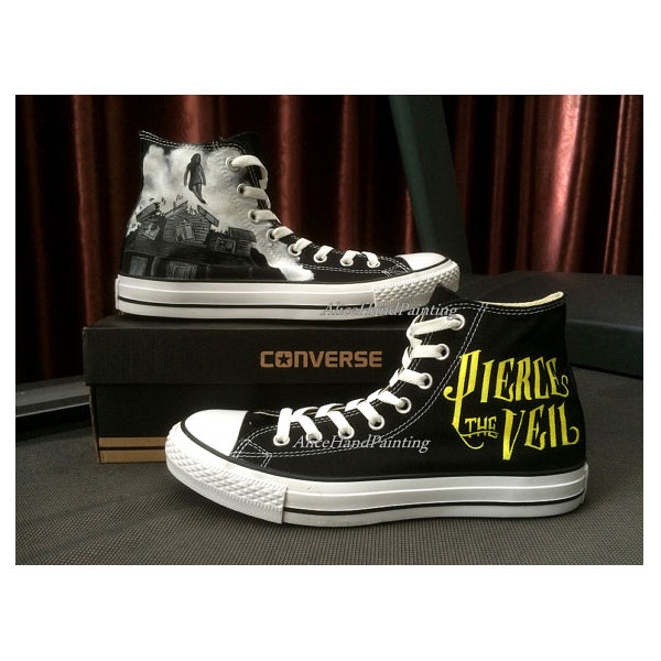 pierce the veil Black Shoes Custom Hand Painted Shoes Custom-2