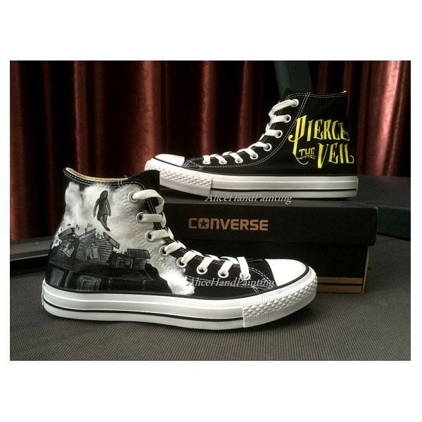 pierce the veil Black Shoes Custom Hand Painted Shoes Custom