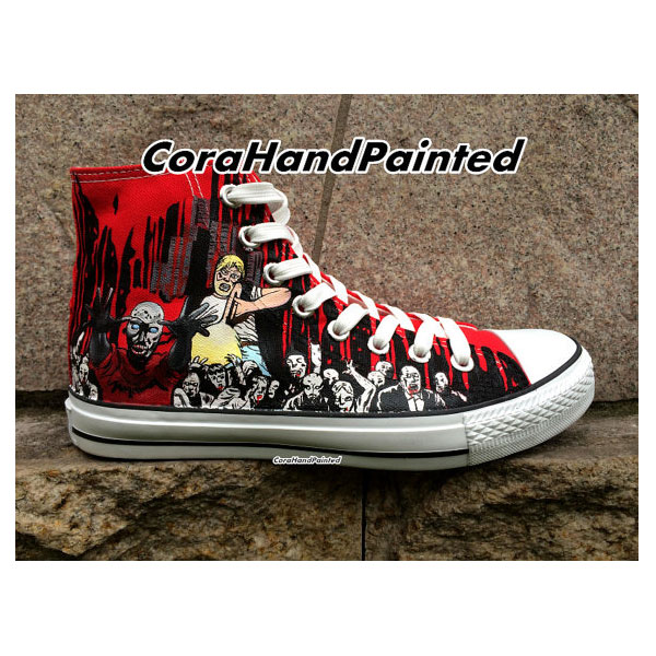 The Walking Dead and Painted High Top Canvas Shoes Design Sneake-2