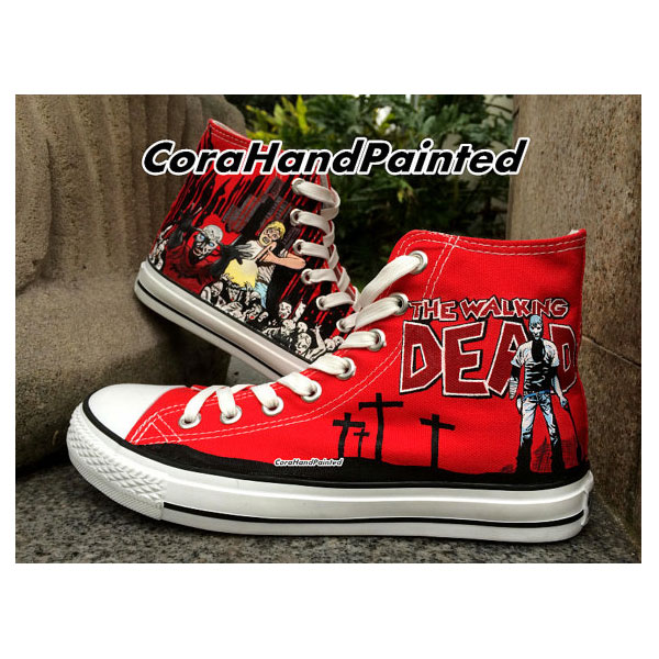 The Walking Dead and Painted High Top Canvas Shoes Design Sneake