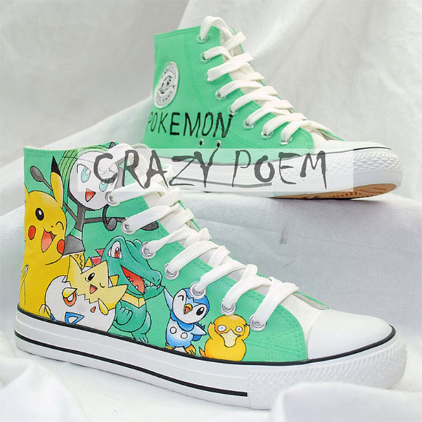 Custom Pikachu Hand Painted Shoes Poket Monsters High Top Canvas-2