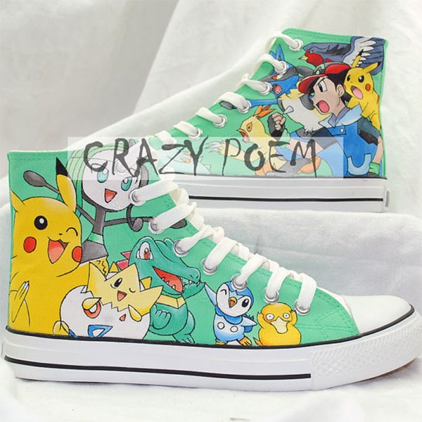 Custom Pikachu Hand Painted Shoes Poket Monsters High Top Canvas