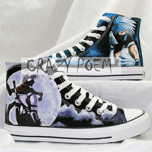 Naruto Kakashi Hand Painted Shoes Custom Cosplay Anime Shoes for-1