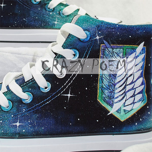 Attack on Titan with Galaxy Background Hand Painted Shoes Black -2
