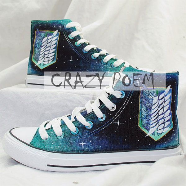 Attack on Titan with Galaxy Background Hand Painted Shoes Black